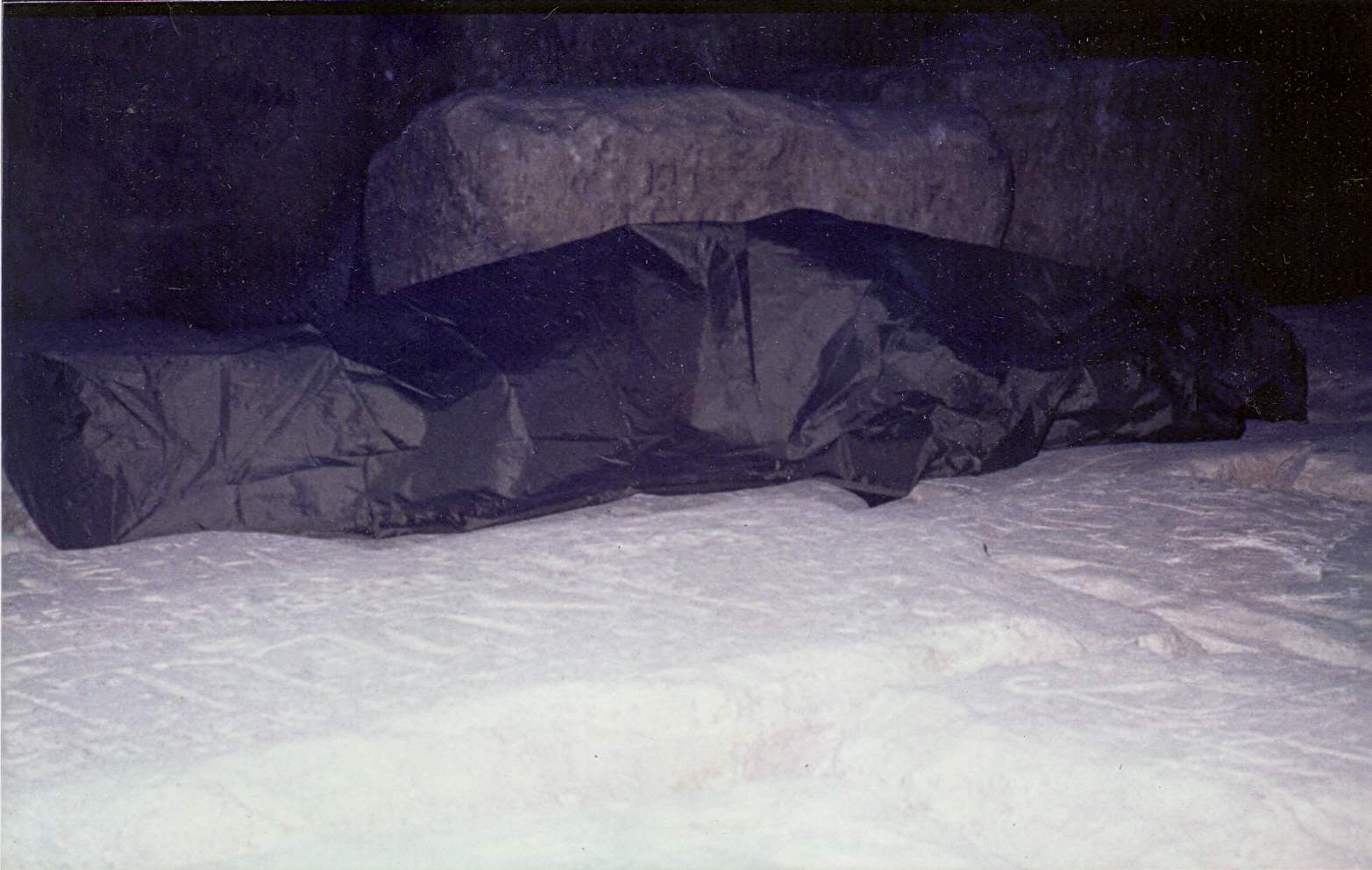 Top of the Great Pyramid of Cheops near midnight, Jan.11, 1985  (click for larger image)